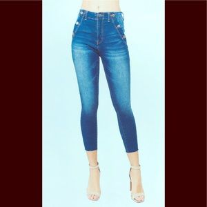 American Bazi Jeans - High Rise Button Detail Skinny Jean